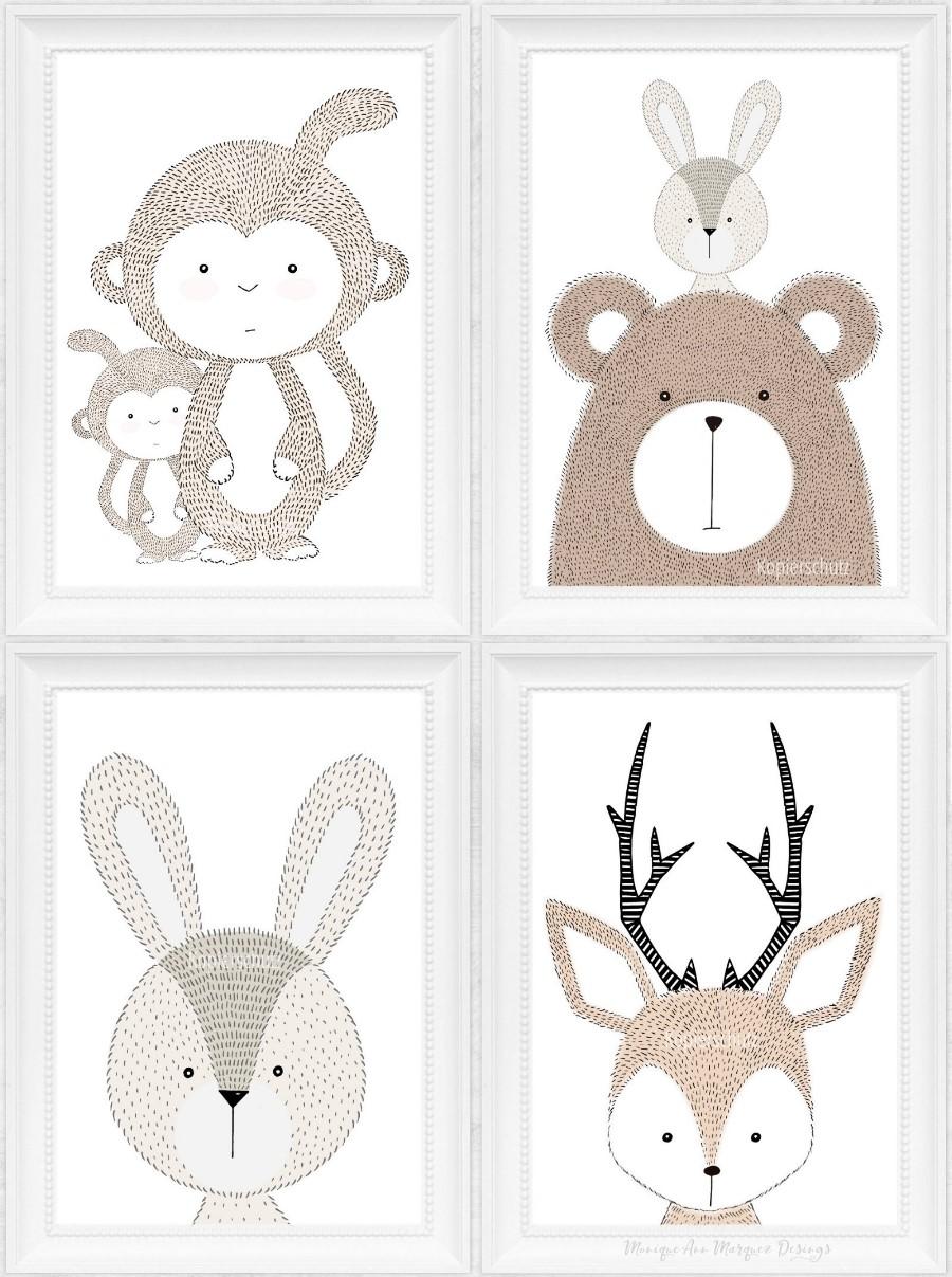 kinder baby zimmer bilder tiere kunst druck tier bild a4 a5 4er 8er 9er set ebay. Black Bedroom Furniture Sets. Home Design Ideas