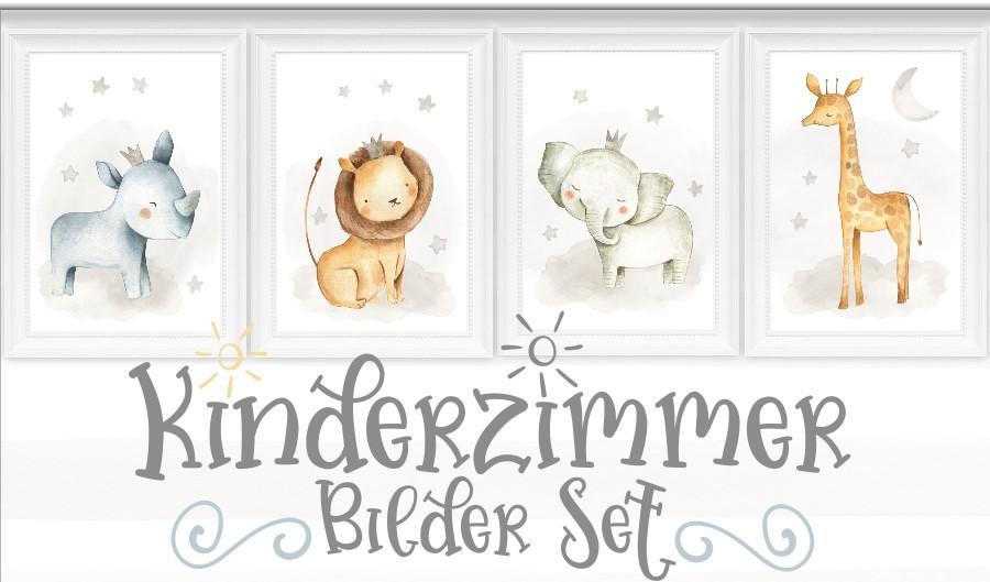 Kinderzimmer Bilder Set Babyzimmer Tiere Bilder Kinder Poster DIN A4 ...