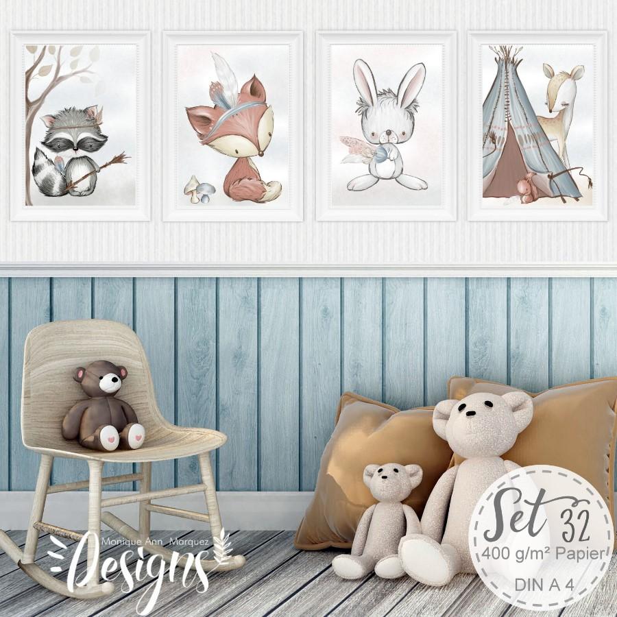 4 x kinderzimmer babyzimmer bilder set wald tiere fuchs. Black Bedroom Furniture Sets. Home Design Ideas