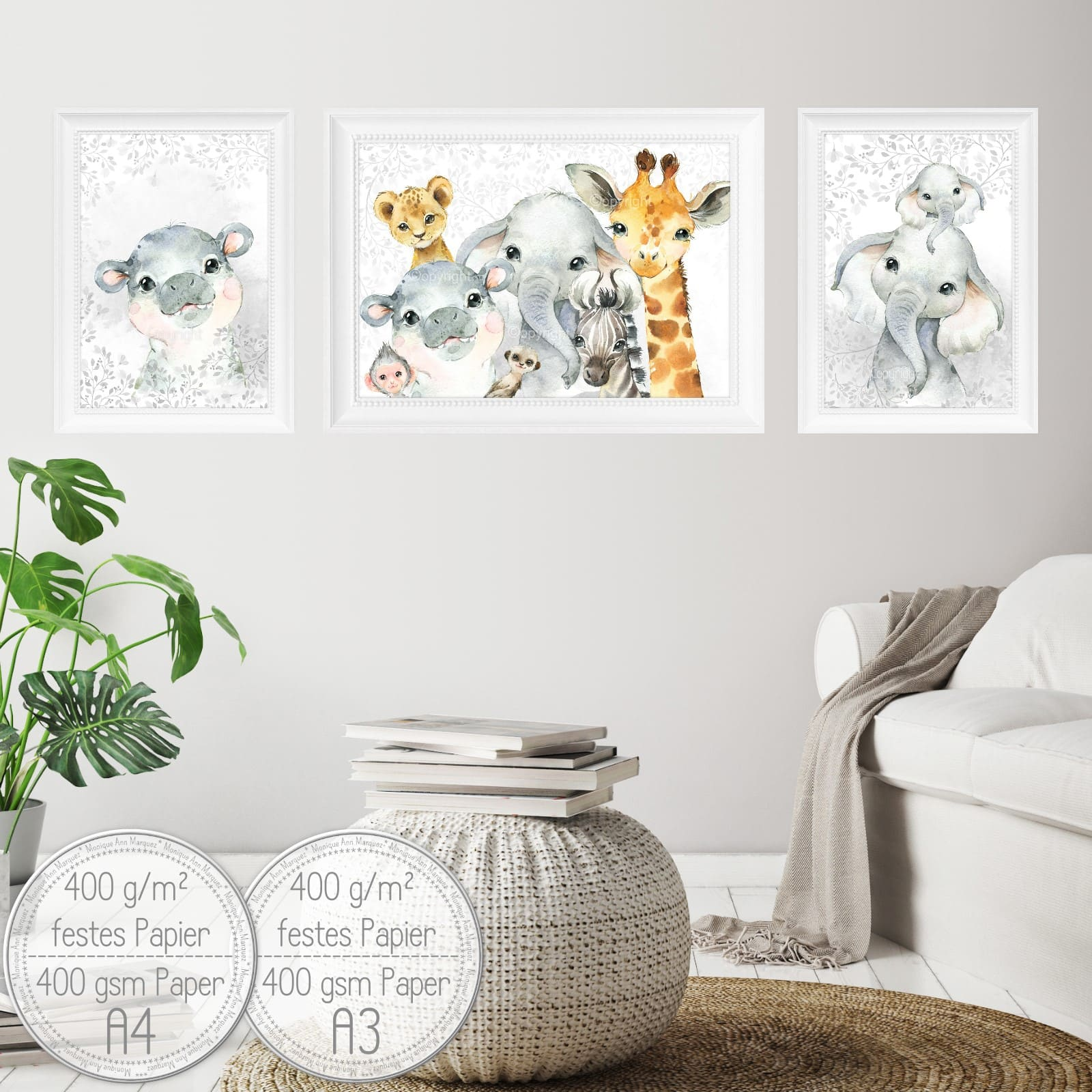 5er Set| Kinderzimmer Bilder | Waldtiere | Fuchs Reh Eule ...